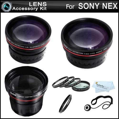 All In Fisheye Lens Kit For Sony Nex-F3, Nex-7, Nex-5N, Nex-5, Nex-5R, Nex-3,Nex-C3 Interchangeable Lens Camera (That Use E-Mount 18-55Mm, 30Mm, 16Mm, 24Mm, 55-210Mm, 50Mm Lenses)Includes 0.21X Wide Angle Fisheye Lens + Wide Angle Lens + 2X Telephoto Lens