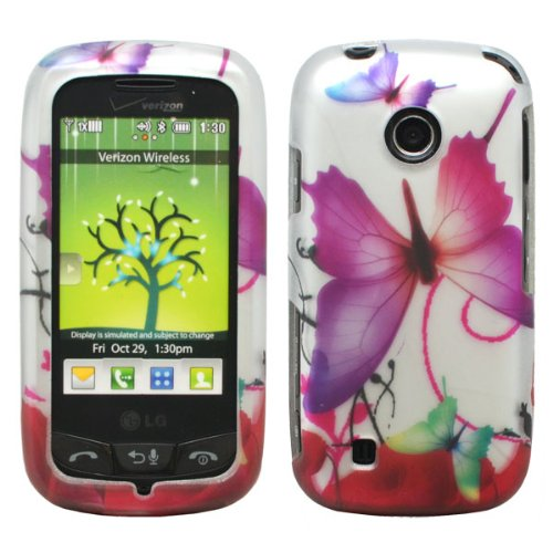 Silver Green Purple Butterfly Red Rose Flower Design Rubberized Snap on Hard Shell Cover Protector Faceplate Skin Case for Verizon LG Cosmos Touch VN270, LG Attune MN270, LG Beacon + LCD Screen Guard Film