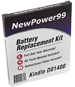 Kindle D01400 (Kindle Fire) Battery Replacement Kit with Video Installation DVD, Installation Tools, and Extended Life Battery