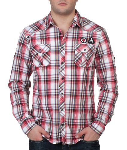 98-86 Herren Langarmhemd Hemd by Eight2Nine Sublevel Jeans H/M 2012 Star MOD 2159 rot D.G