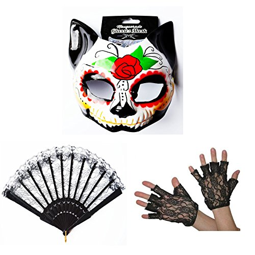 Day Of The Dead Fancy Dress Cat Sugar Skull Face Mask Black Lace Gloves Hand Fan by Card and Party Store