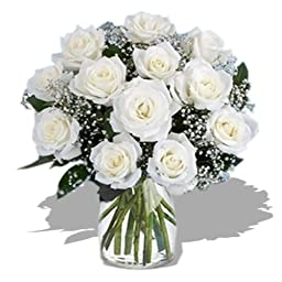 Dozen Long Stem White Roses