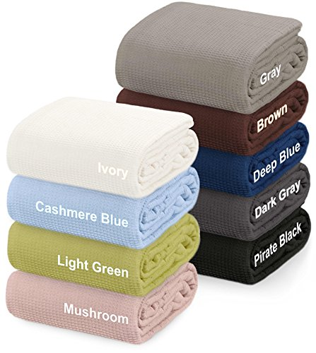 "Best Buy! Crover Collection All Season Thermal Waffle Cotton King Blanket 108""x90"" Cashmer..."