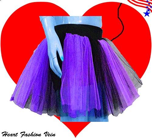 Plus Size Purple Black Length 15 Two Layer Two Tone Stripe Tutu Skirt front-590336