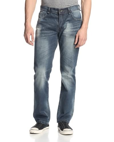 X-RAY Men's 5 Pocket Boot Cut Jean with Rip/Repair