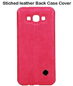 JKOBI(TM)Exclusive Stiched Leather Back Case Cover For Samsung Galaxy A8 -Bluish Red