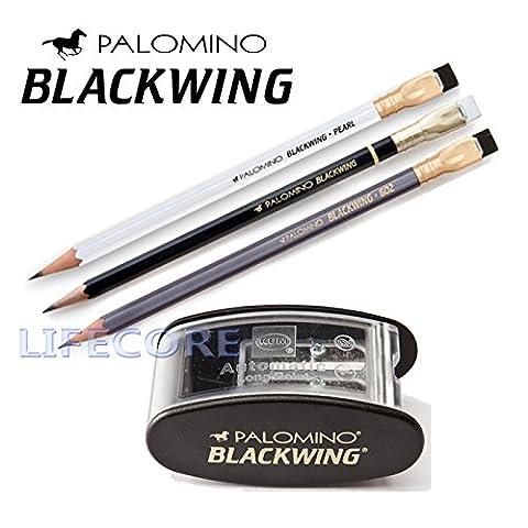 Palomino Blackwing Pencils 3Count (Blackwing,602,Pearl) KUM Pencil Sharpener Set