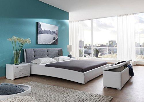 XXS-Bebop-Polsterbett-200-x-220-cm-in-edlem-wei-grau-Bett-mit-gepolstertem-Kopfteil-und-pflegeleichter-Oberflche-abgestepptes-Design-stilvolle-chrom-farbene-Fe-auch-als-Wasserbett-verwendbar