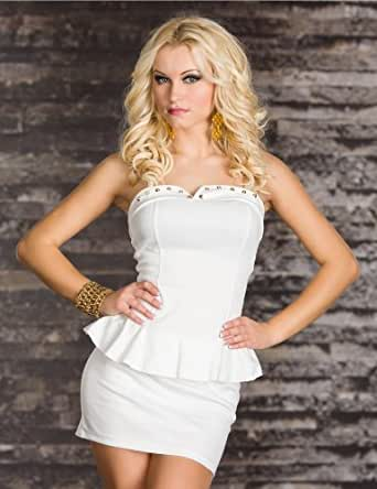 Pure White Strapless Rivets Peplum Dress Clubwear Coacktail Dress