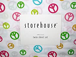 STOREHOUSE 100% cotton Twin Sheet Set (colorful peace signs)