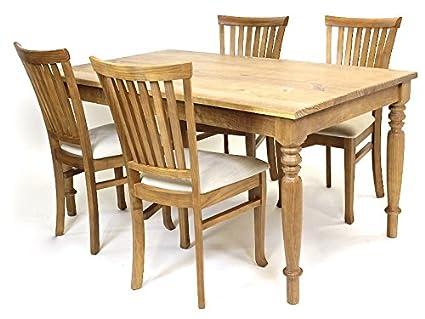 Set Landhaus Olinda Esszimmer FSC® N002524 Pinienholz Langer Naturholzmöbel Sitzgruppe Tisch mit Stuhlen Massivholz 4x gepolsterte Stuhle aus Leinen 1x Esstisch Massiv 160 x 90 Landhausstil Essgruppe Altholz Esszimmertisch