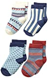 PACT Baby-Boys Newborn Harvest Four-Pack Socks, Blue, 12 Months