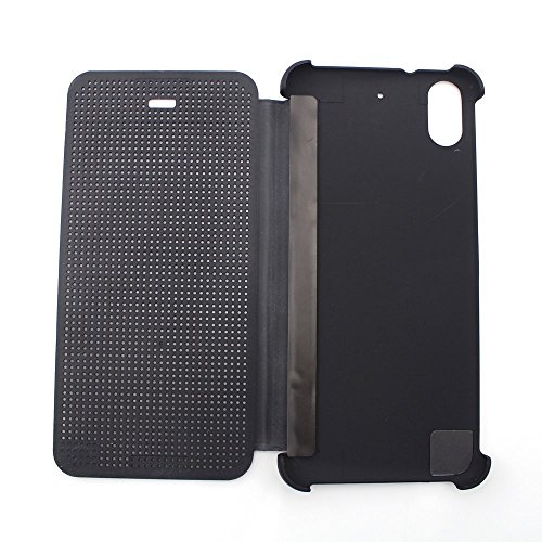 Defender Premium Best DOT VIEW Bumper Touch Flip Case Cover with Sensor for HTC Desire 626G Plus (626G+) - Black