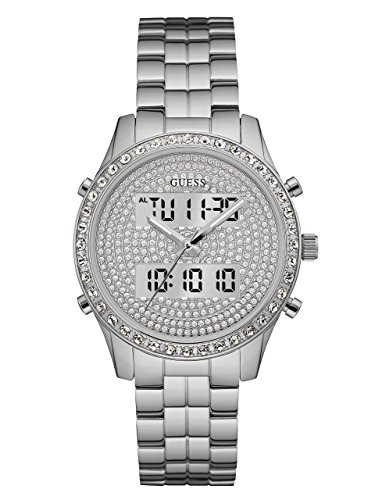 GUESS Women's U0817L1 Dazzling Silver-Tone Digital Multi-Function Watch (Guess Analog Silver Dial compare prices)