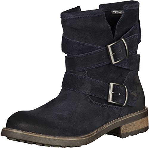 Tamaris 1-25472-25 Womens Navy Leather Booties 40 EU (8.5 US Women)