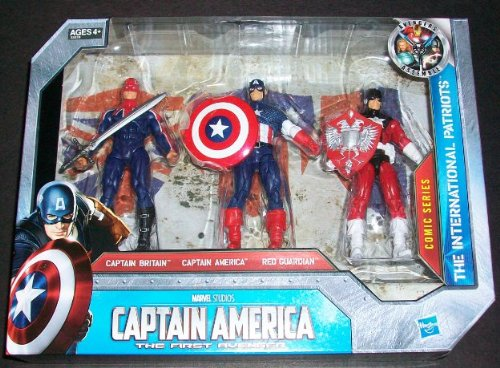 Captain America Movie Exclusive 4 Inch Action Figure 3Pack The International Patriots Captain Britain Captain America Red Guardian