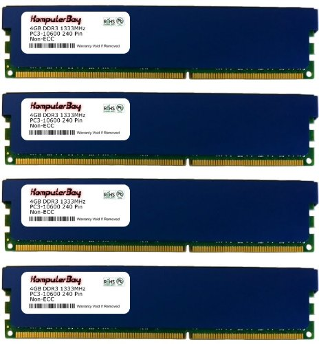 Komputerbay 16GB (4 X 4GB) DDR3 DIMM (240 pin) 1333Mhz PC3 10600 / PC3 10666 (9-9-9-25) 16 GB KIT with Heatspreader for extra Cooling
