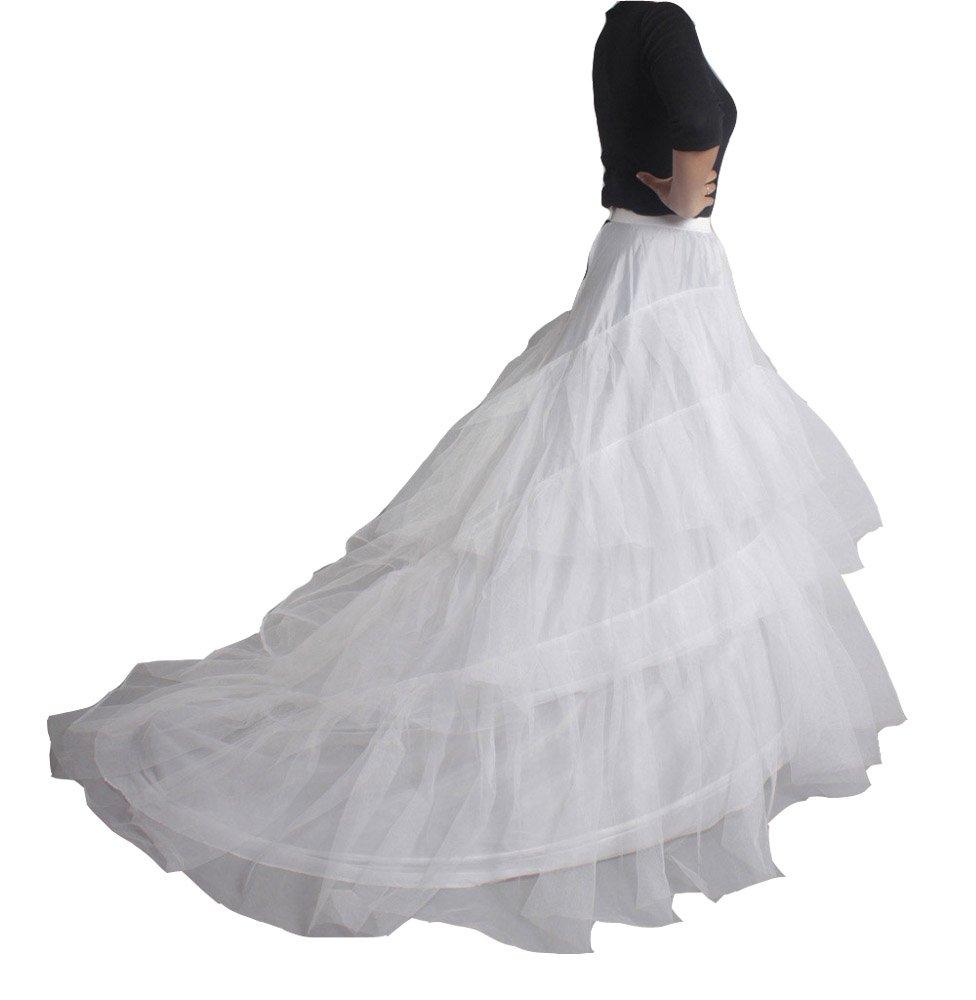 XYX Frauen-Hochzeits PetticoatUnderskirt Schlupf Krinoline TRAILING langen weißen XS-M günstig