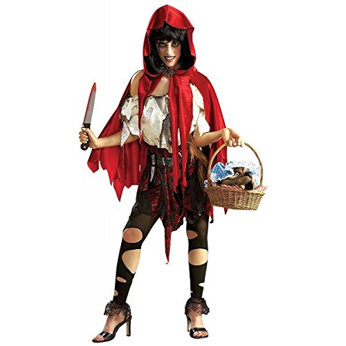 [GSG Little Dead Riding Hood Costume Adult Red Gothic Grimm Fairytale Halloween] (Halloween Little Dead Riding Hood Costume)