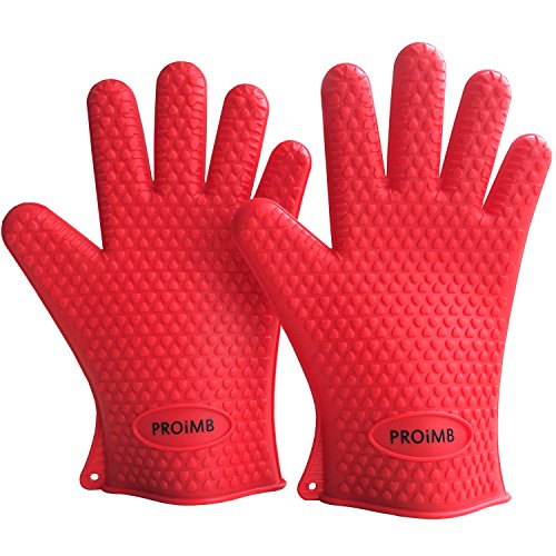 Proimb Silicone Gloves for Cooking Heat Resistant (Red, Free Size) (Heat Cooking Gloves compare prices)