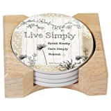 CounterArt Live Simply Design Absorbent Coasters In Wooden Holder, Set Of 4