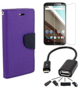 Relax And Shop Combo of Flip Cover For Sony Xperia C4 - (Purple Flip+ Tempered + OTG)