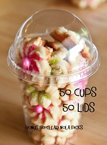50 Sets 16 oz Plastic CLEAR Cups with Dome Lids NO HOLE IN LID (Plastic Popcorn Cups compare prices)
