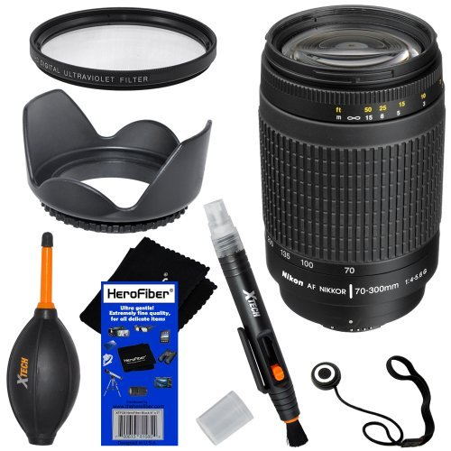 Nikon 70-300Mm F/4-5.6G Af Nikkor Slr Camera Telephoto Zoom Lens (Import) + 6Pc Bundle Accessory Kit W/ Herofiber® Ultra Gentle Cleaning Cloth