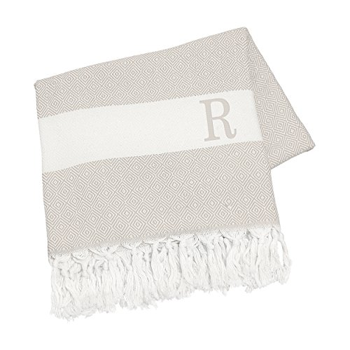 Cathy's Concepts Personalized Turkish Throw, Letter R, Beige (Personalized Throw Blankets compare prices)