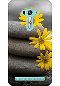 AMEZ designer printed 3d premium high quality back case cover for Asus Zenfone Selfie (stones and flower)