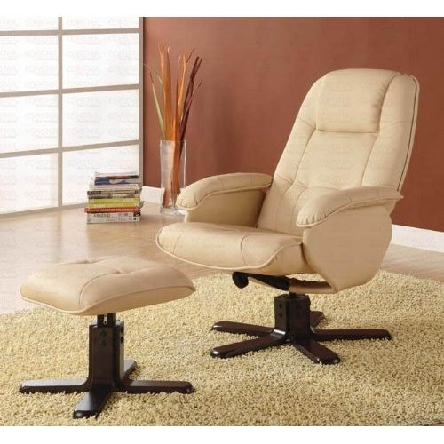 Recliners With Ottomans Leisure Chair With Ottoman In Ivory front-1065096