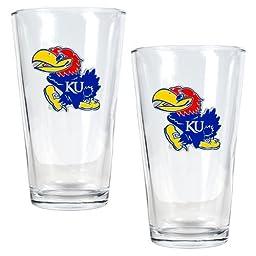 NCAA Kansas Jayhawks Two Piece Pint Ale Glass Set