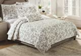 Isaac Mizrahi Black Toile Quilt Bedspread 3pc Full/Queen Quilt Set Coverlet Cotton French Country Quilted Bedding Butterfly Birds Flowers Black and White