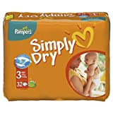 Pampers Simply Dry 3 Midi 4-9kg - 9-20lbs 32 Nappies x Case of 4
