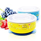 Baby Mate 2 PCS Detachable Double Layer Stay Put Suction Bowls with Lids (12oz/350ml, Blue & Yellow) - Stainless Steel Feeding Set for Kids - Anti-Scald Suction Bowls for Toddlers - Baby Shower Gifts
