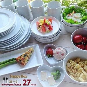 アウトレット 白い食器セット 27ピース 増量パック 新生活 詰め合わせ