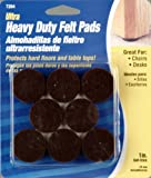 Waxman 7284 Self-Stick Round Felt Pads, Brown, 1-Inch