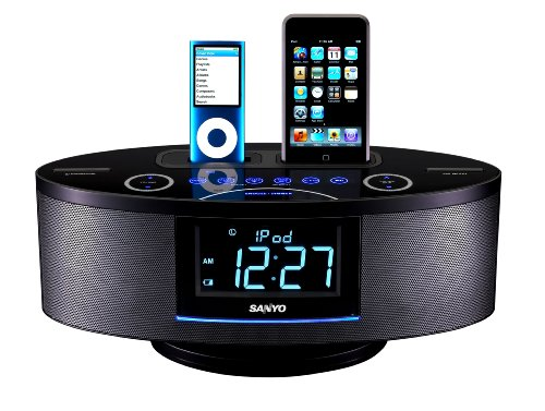 Dual Dock Triple Alarm Clock Radio for iPhone//iPod iP88GC
