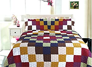 All for You 3-piece Reversible Bedspread/ Coverlet / Quilt Set- OverSize( to the floor)-Real patchwork-Burgundy back (king, California King)