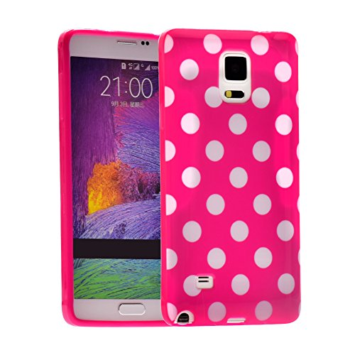 I3C Samsung Note 3 Cases Polka Dot Series Durable Soft Flex Gel Silicone TPU Cover (Hot Pink+White)