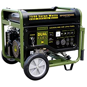 Sportsman GEN7500DF 7,500 Watt 13 HP 389cc OVH 4-Stroke Gas/Propane Powered Portable Generator With Electric Start by Buffalo Tools Lawn & Garden