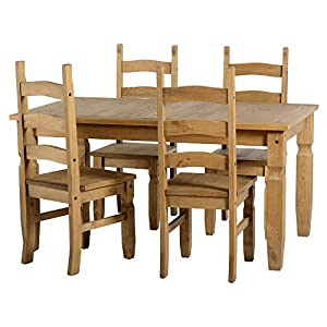 Pine Dining Table Corona Mexican Pine 4 Dining Chairs High Backed Brand New
