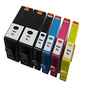 Generic Remanufactured Ink Cartridge Replacement for HP 564XL (2x Black, 1x Photo Black, 1x Cyan, 1x Magenta, 1x Yellow, 6-Pack)