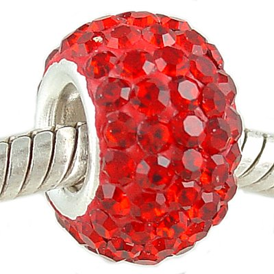 925 Silver & Cherry Red Crystal PAVE July Birthstone European Charm Bead