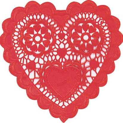 Red Heart Shaped 3 1/2in Doilies 28ct - 1