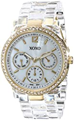 XOXO Women's XO5527 Clear Bracelet with Rhinestones on Gold Case Watch