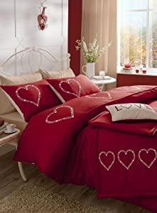 Catherine Lansfield Decorative Hearts Double Quiltset - Red