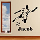 Personalised Footballer Boys Name Football Sport Wall Art Sticker - Art Vinyl Decal Stickers, Childrens Bedroom, Bathroom, Kitchen, Lounge, Easy to Apply, Free Applicator, Easy Peel - (PLEASE CHOOSE YOUR SIZE & COLOUR USING DROP DOWN MENU) - by Rubybloom Designs