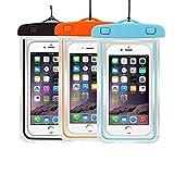 3Pack Universal Floatable Waterproof Cases Case Dry Bags CaseHigh Shop Transparent Covers Color Submersible for Cellphones Under 5.8 Inch Bumper Case Fashion Design (3 Pack:Black+Orange+Blue)