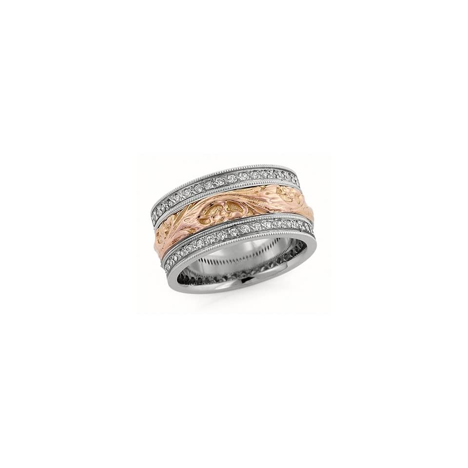 10.00 Millimeters White and Rose Gold Diamond Wedding Band Ring 14Kt Gold, Comfort Fit Style LV1498 50TT10WRW by Wedding Rings by Oromi